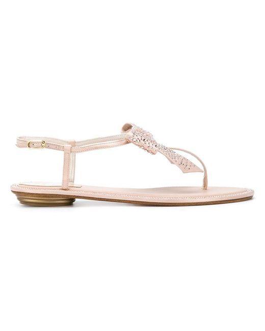 Rene Caovilla - Pink Embellished Sandals - Lyst