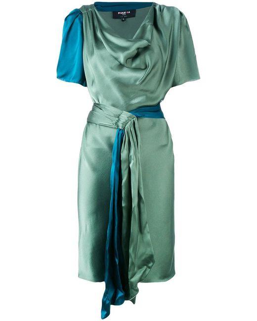 Paule Ka | Green Draped Satin Short Sleeve Dress | Lyst