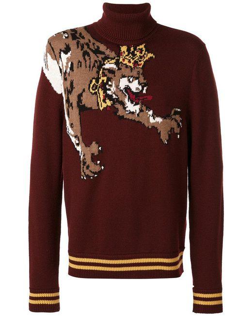 Dolce & Gabbana | Red Crowned Leopard Knit Jumper for Men | Lyst