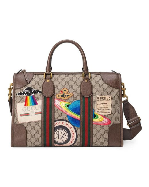Gucci - Multicolor Leather Courrier GG Supreme Duffle Bag for Men - Lyst ... 812d7b0053