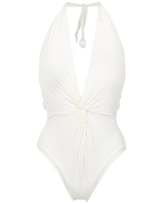 Martha Medeiros - White Halterneck Twisted Detail Swimsuit - Lyst