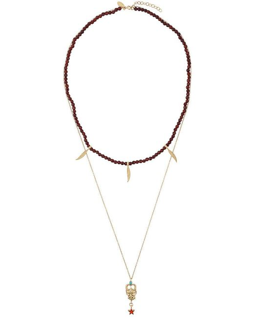 Iosselliani - Metallic Puro Satyr Red Agate Double Necklace - Lyst