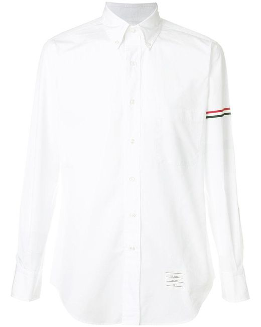 Thom Browne - Classic L/s Shirt With Printed Red, White And Blue Hairline Stripe In Solid Poplin for Men - Lyst