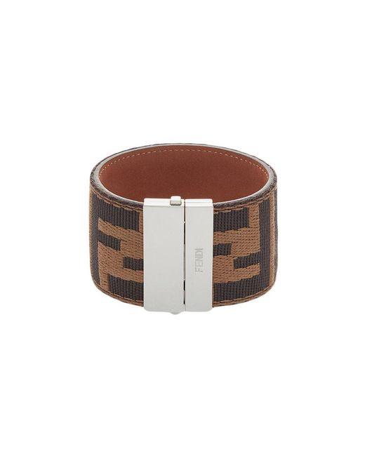 Fendi - Brown Ff Logo Cuff Bracelet for Men - Lyst