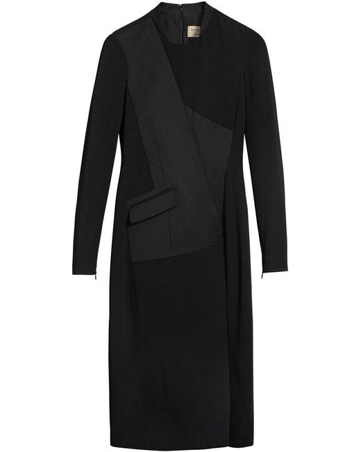 Burberry - Black Tailored Long-sleeved Dress - Lyst