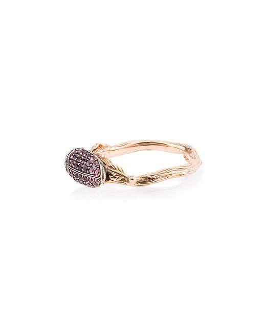Bibi Van Der Velden - Metallic 18k Rose Gold Scarab Amethyst Ring - Lyst