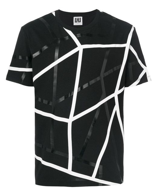 Les Hommes - Black Geometric Print T-shirt for Men - Lyst