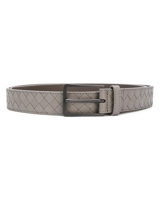 Bottega Veneta - Gray Dark Cement Intrecciato Vn Belt for Men - Lyst