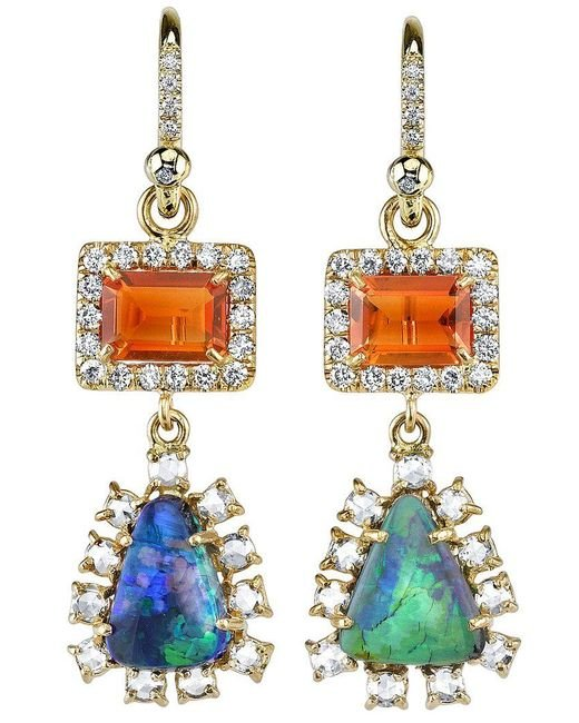 Irene Neuwirth - Metallic Diamond Tear Drop Earrings - Lyst