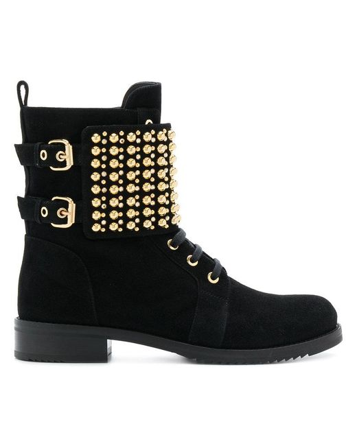 Loriblu - Black Studded Ankle Boots - Lyst