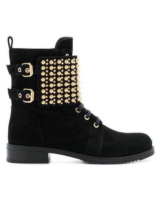 Loriblu - Black Studded Ankle Boots - Lyst