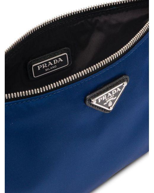 1ce7e8d933cf ... Prada - Blue Logo Plaque Pouch for Men - Lyst