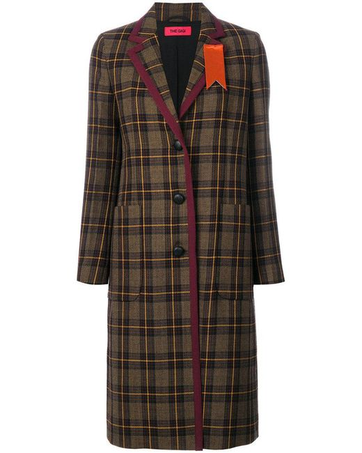 The Gigi - Brown Plaid Buttoned Coat - Lyst