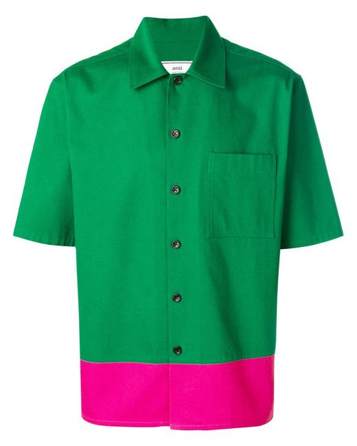 AMI - Green Stripe Detail Shirt for Men - Lyst