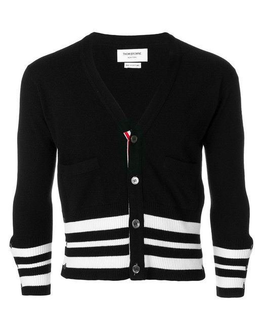 Thom Browne - Black Cashmere Cropped Cardigan for Men - Lyst