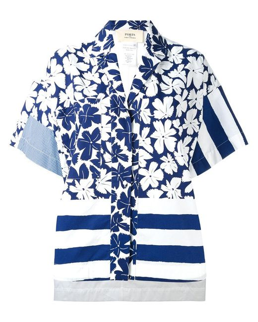 Ports 1961 - Blue Oversize Printed Shirt - Lyst