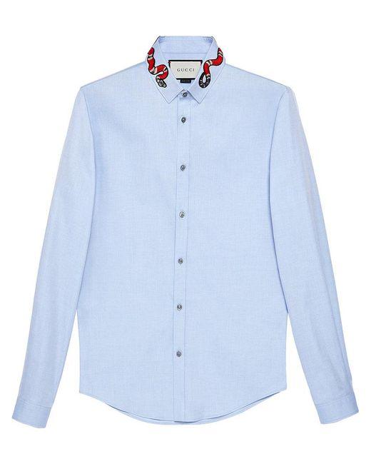 Gucci - Blue Duke Hemd aus Oxford mit Königsnatter for Men - Lyst
