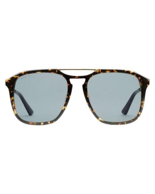 7c05a4c084576 Gucci - Brown Square-frame Acetate Sunglasses for Men - Lyst ...