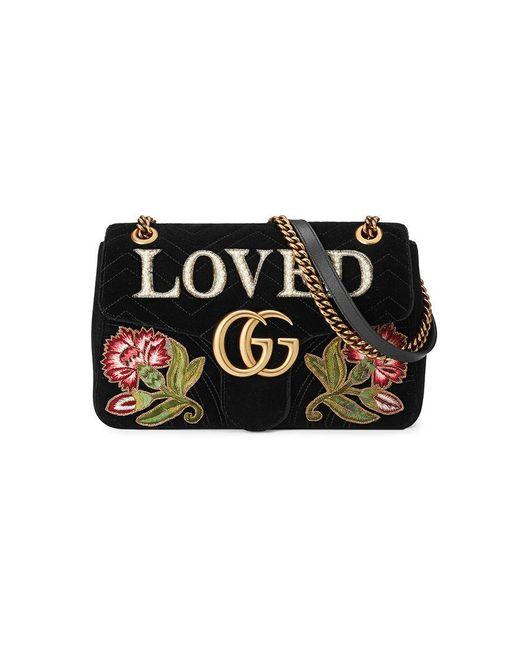 935592cb114 Gucci - Black Sac à épaule GG Marmont en velours avec broderies - Lyst ...