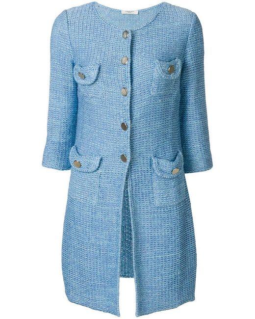 Charlott - Blue Knit Coat - Lyst