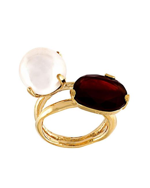 Wouters & Hendrix   Metallic 'my Favourite' Red Agate And Pearl Ring   Lyst