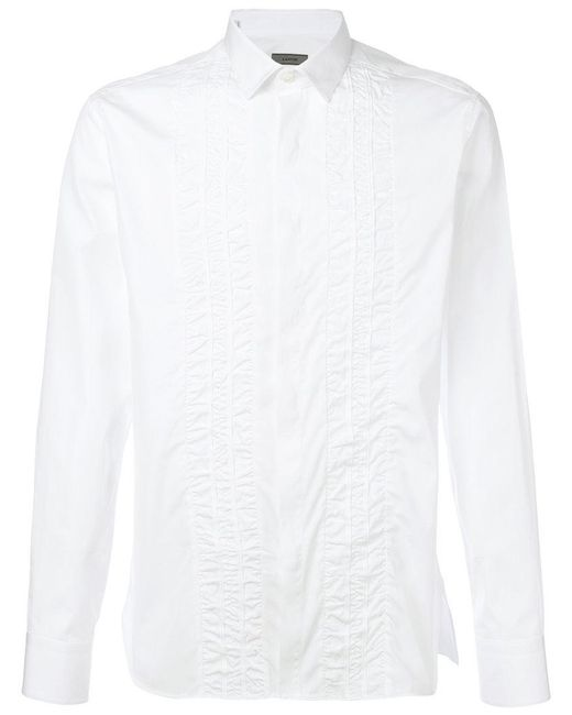 Lanvin - White Ruched Trim Shirt for Men - Lyst
