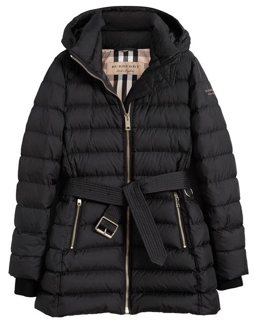 Burberry - Black Linefield Quilted Coat - Lyst
