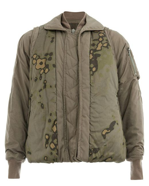 Julius - Green Abstract Print Bomber Jacket for Men - Lyst