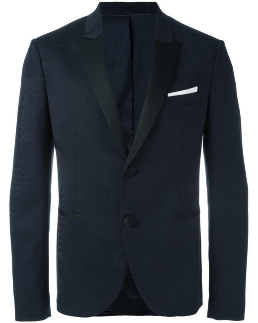 Neil Barrett - Blue Tonal Pattern Blazer for Men - Lyst