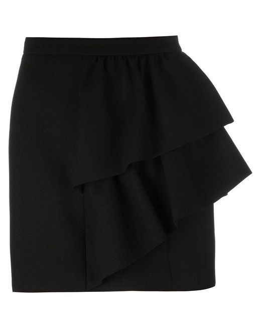 Saint Laurent - Black Asymmetric Ruffled Skirt - Lyst