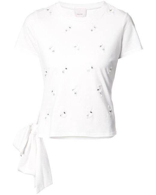 Cinq À Sept - White Embellished T-shirt With Bow Detail - Lyst