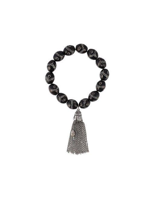 Loree Rodkin - Black Pavé Diamond Bead Tassel Bracelet - Lyst