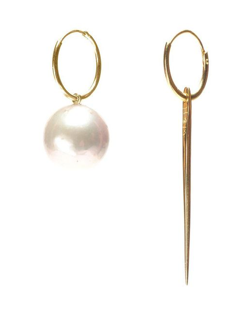 Wouters & Hendrix - 18kt Yellow Spike And Pearl Earrings - Lyst