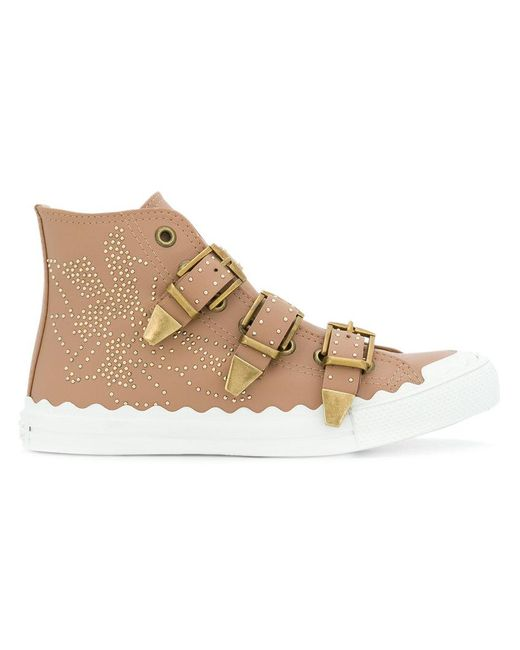 Chloé - Brown Designer Embellished Sneakers - Lyst