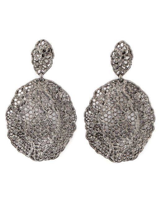Aurelie Bidermann - Black Vintage Lace Earrings - Lyst