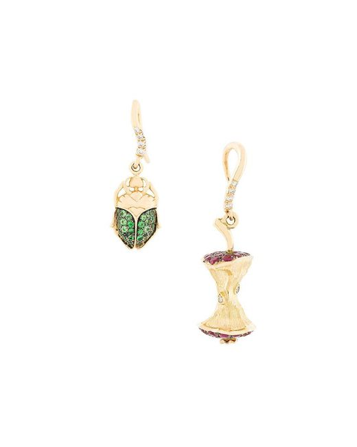 Aurelie Bidermann - Metallic Apple Core & Scarab Set Of Diamond Earrings - Lyst