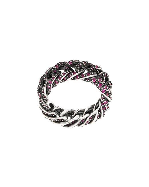 Ugo Cacciatori - Metallic Embellished Chain Ring - Lyst