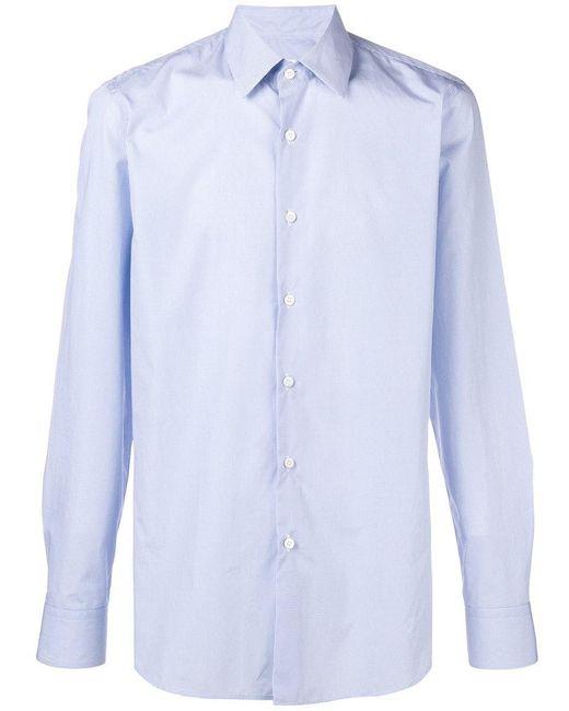 Prada - Blue Circle Printed Collared Shirt for Men - Lyst