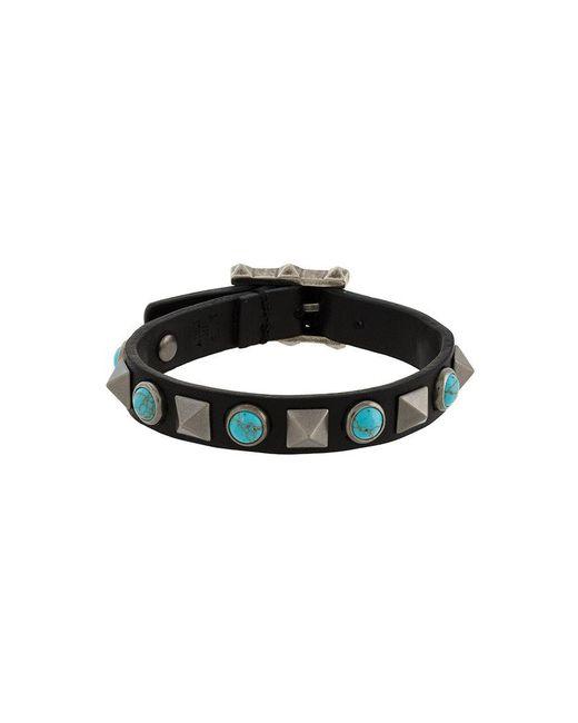 Valentino - Black Rockstud Turquoise Bracelet for Men - Lyst