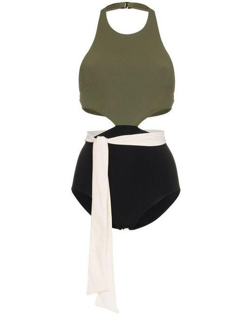 92e31e0782 Flagpole Swim - Green Lynn With Sash Cutout High Neck Swimsuit - Lyst ...
