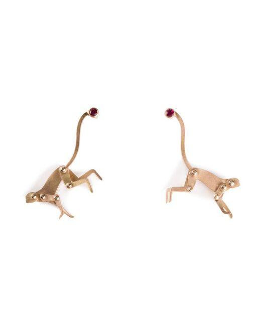 Marc Alary - Pink Ruby Monkey Earrings - Lyst