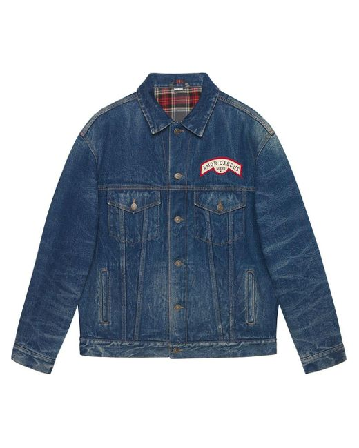 Gucci Blue Patch Detail Oversized Denim Jacket for men