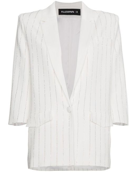 Filles A Papa - White Crystal Striped Blazer - Lyst