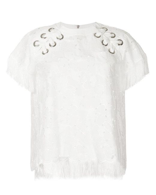 Sacai   White Embroidered Laced Shoulder T-shirt   Lyst