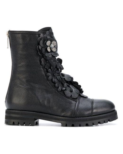 Jimmy choo Boots HAVANA FLAT suede bordeaux flower pattern USyxWD70iX