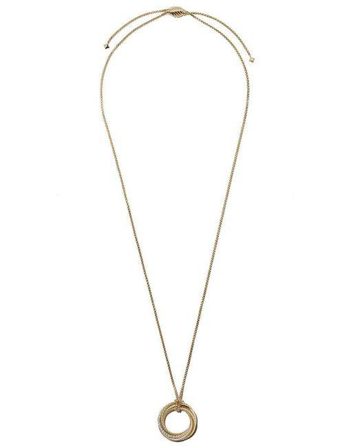 David Yurman - Metallic 18kt Yellow Gold Crossover Diamond Pendant Necklace - Lyst