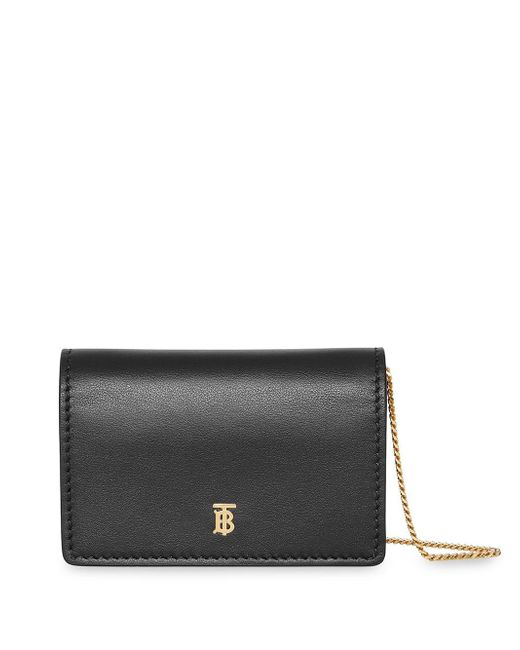 Burberry - Black Leather Card Case With Detachable Strap - Lyst