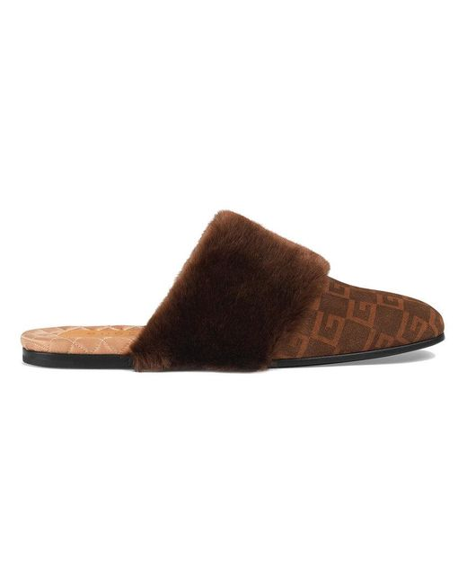 a565c60eb Gucci - Brown Suede Square G And Synthetic Fur Slipper for Men - Lyst ...
