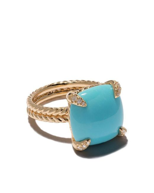 David Yurman - Blue 18kt Yellow Gold Châtelaine Turquoise And Diamond Ring - Lyst