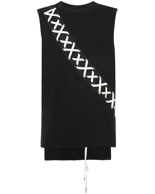D.GNAK - Black X-string Panel Tank Top for Men - Lyst